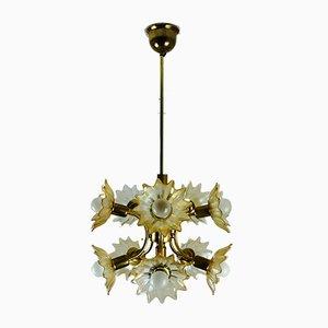 Lampada da soffitto in ottone e vetro ambrato, anni '70