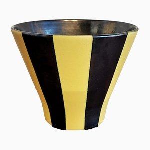 Cachepot in Gelb & Schwarz von Fritz Van Daalen für Van Daalen Keramik, 1950er