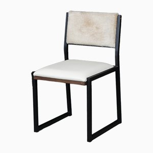 Solid Walnut, Black Steel, Bone Leather & Cow Hide Shaker Modern Chair by Ambrozia