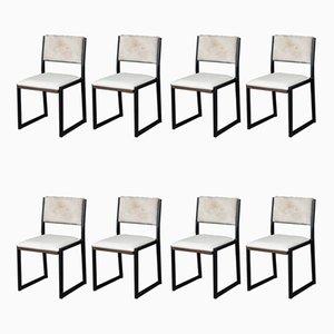 Moderne Shaker Stühle aus massivem Nussholz, schwarzem Stahl, Leder & Rindsleder von Ambrozia, 8er Set