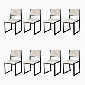 Solid Walnut, Black Steel, Bone Leather & Cow Hide Shaker Modern Chairs by Ambrozia, Set of 8