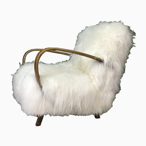 Mid-Century Sheepskin and Bentwood Armchair by Jindřich Halabala