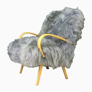 Vintage Art Deco Gray Sheepskin and Bentwood Armchair