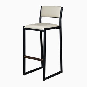 Solid Walnut, Black Steel & Cream Vinyl Shaker Modern Counter Stool by Ambrozia