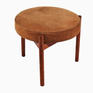 Mid-Century Danish Teak and Suede Stool by Hugo Frandsen for Spøttrup, 1960s
