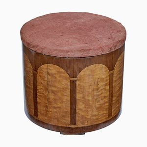 Art Deco Birch and Walnut Stool, 1920s