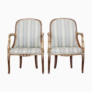 19th Century French Gilt Walnut Armchairs, Set of 2