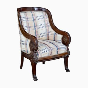 19th Century Biedermeier Style Danish Carved Mahogany Armchair