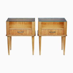 Mid-Century Scandinavian Birch Nightstands, 1960s, Set of 2