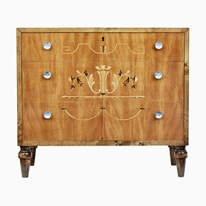 Art Deco Scandinavian Inlaid Birch Dresser, 1930s