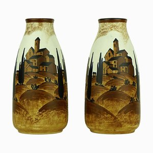 Art Deco Vases by Charles Catteau for Keramis, 1932, Set of 2