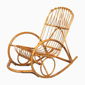 Vintage Rattan Rocking Chair from Rohé Noordwolde, 1960s