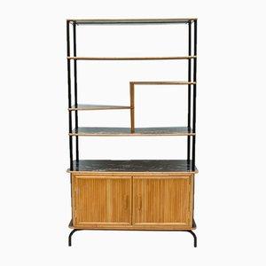 Biombo de bambú con estantes, años 50