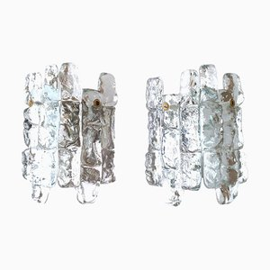 Austrian Ice Glass Sconces from Kalmar Franken KG, 1970s, Set of 2