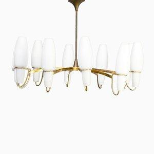 Lámpara colgante de vidrio opalino de Gaetano Sciolari para Stilnovo, años 50