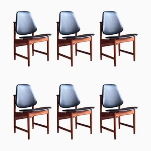 Teak Dining Chairs by Arne Hovmand-Olsen for Hovmand-Olsen, 1950s, Set of 6