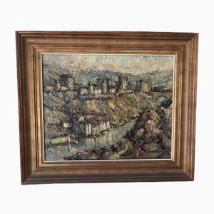 Antique Spanish Impressionist Landscape Oil Painting by Callader