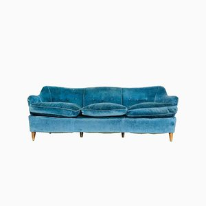 Vintage Blue Fabric 3-Seater Sofa by Gio Ponti, 1960s