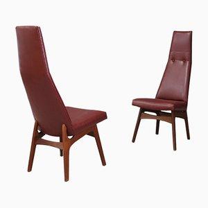 Rote Mid-Century Sessel von Adrian Pearsall für Craft Associates, 1950er, 2er Set
