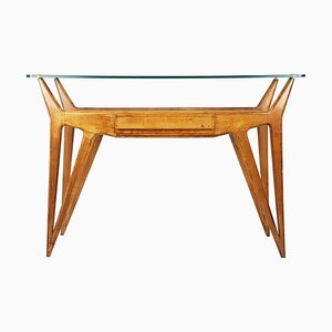 Italian Wood and Glass Console Table, 1950s
