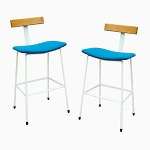 White and Blue Bar Stools by Frank Guille for Kandya, 1950s, Set of 2
