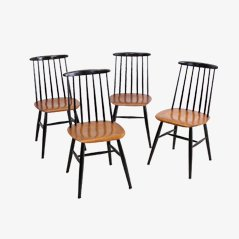 Mid-Century Wooden Dining Chairs by Ilmari Tapiovaara, Set of 4
