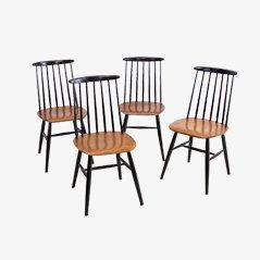Mid-Century Wooden Dining Chairs by Ilmari Tapiovaara, Set of 4