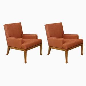 Art Deco Orange Fabric Lounge Chairs by Robsjohn Gibbings, 1950s, Set of 2