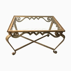 Italian Gilt Iron and GLass Coffee Table by Pier Luigi Colli, 1950s