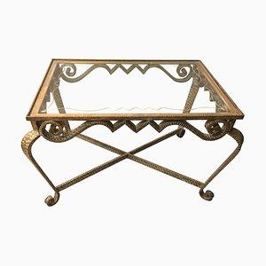Mesa de centro italiana de hierro dorado y latón de Pier Luigi Colli, años 50