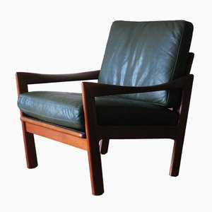 Teak and Leather Lounge Chair by Illum Wikkelsø for Niels Eilersen, 1960s