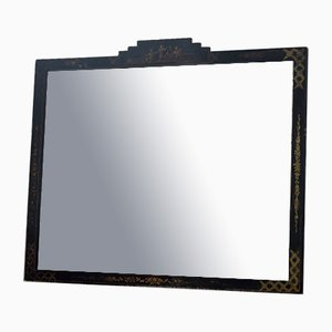 Large Antique Black Lacquered Chinoiserie Wall Mirror