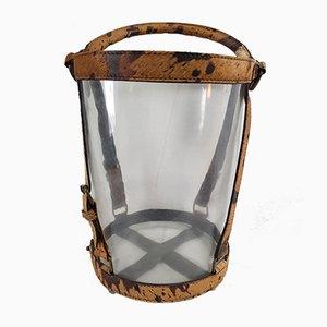 Secchiello per il ghiaccio Art Deco in vetro e pelle di Jacques Adnet, anni '30