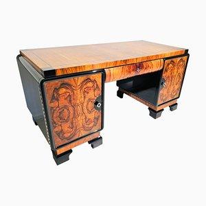 Art Deco Burl Walnut Desk, 1930s