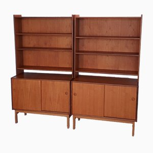 Scandinavian Teak Wall Units, 1960s, Set of 2