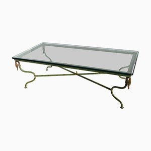 Italian Green Wrought Iron & Crustal Coffee Table by Cupioli