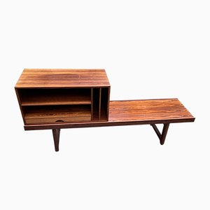 Rosewood Model Krobo Bench with Record Deck by Torbjørn Afdal for Mellemstrands Trevareindustri AS, 1960s