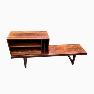 Rosewood Model Krobo Bench with Record Deck by Torbjørn Afdal for Mellemstrands Trevareindustri AS, 1960s