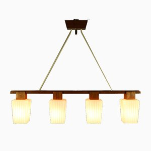 Mid-Century Glass and Teak Bar Pendant Lamp