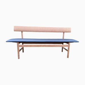 Oak and Black Leather Model 3171 Bench by Børge Mogensen for Fredericia, 1960s