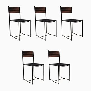 Italian Black Metal and Scooby Dining Chairs from Pluri Bergamo, 1970s, Set of 5