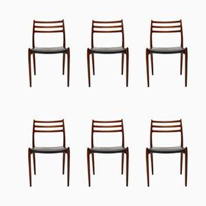 Chaises de Salle à Manger Modèle 78 en Palissandre par Niels Otto Møller, Danemark, 1960s, Set de 6