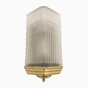 Art Deco Sandblasted Glass Sconce, 1960s