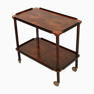 Art Deco Ebonized and Burl Walnut Bar Cart, 1930s