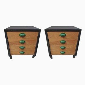 Industrial Wooden Nightstands, 1970s, Set of 2