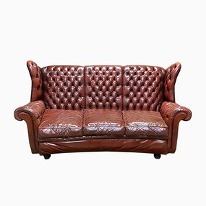 Leather 3-Seater Chesterfield Sofa, 1970s