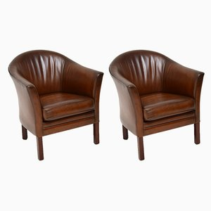 Danish Leather Armchairs from Mogens Hansen, 1960s, Set of 2