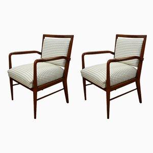 Italienische Vintage Stühle aus Nussholz, 1950er, 2er Set