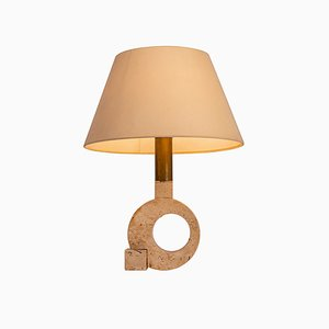 Vintage Travertine and Golden Brass Table Lamp from Fratelli Mannelli, 1970s