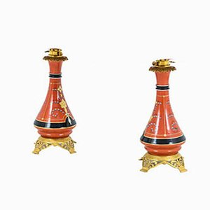 Antique French Orange Porcelain Table Lamps, 1880s, Set of 2